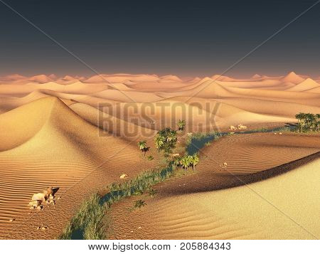 Global temperature change idea. solitary sand ridges under dramatic evening sunset sky at drought desert scenery 3d rendering