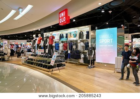 BUSAN, SOUTH KOREA - MAY 28, 2017: Uniqlo store at Lotte Department Store in Busan. Uniqlo Co., Ltd. is a Japanese casual wear designer, manufacturer and retailer.