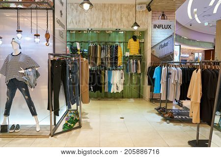 BUSAN, SOUTH KOREA - MAY 28, 2017: Influx store at Lotte Department Store