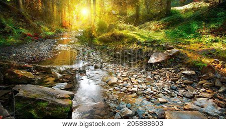 Beautiful autumn landscape, Mountain River, forest landscape. Tranquil waterfall scenery in the middle of green forest on sunset