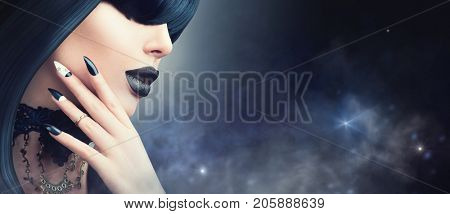 High Fashion Halloween Model Girl Portrait with Trendy gothic Black Hair style, Make up, dark Manicure and accessories. Halloween Vampire Woman portrait with black matte lips, fringe hairstyle, choker