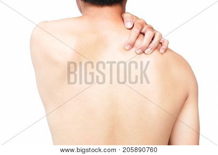 Closeup man hand itching on shoulder and back healthy care and medical concept