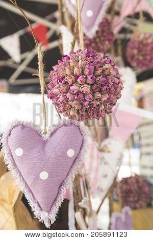 Dangling Flower Bouquet And Plush Purple Heart Decoration