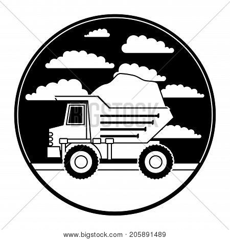 dump truck in circular frame with cloud landscape on monochrome silhouette vector illustration