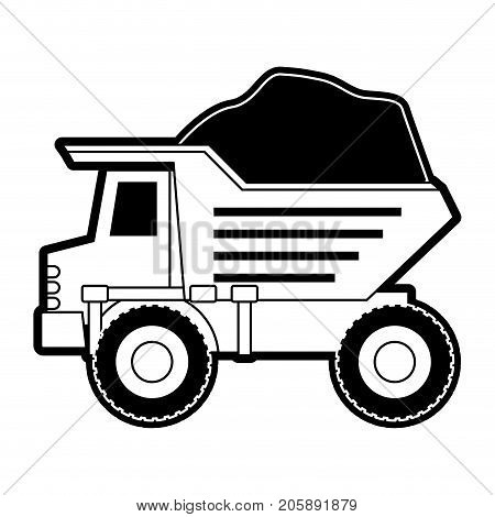 dump truck with rocks on monochrome silhouette vector illustration