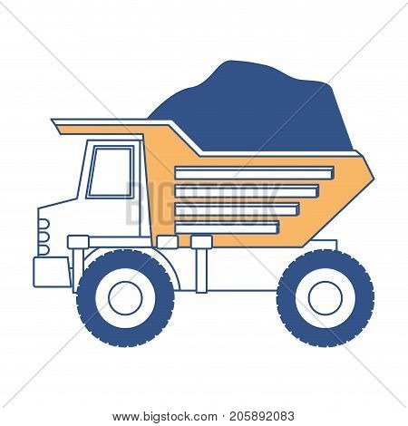 dump truck with rocks on color section silhouette vector illustration