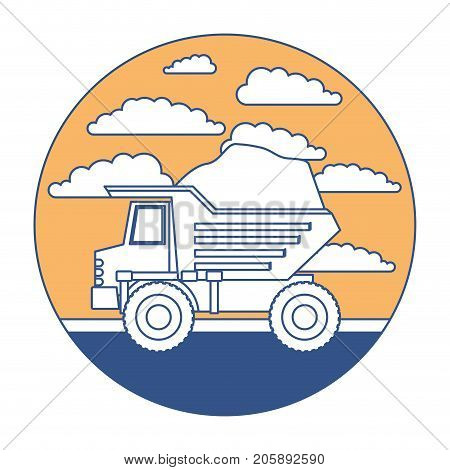 dump truck in circular frame with cloud landscape on color section silhouette vector illustration