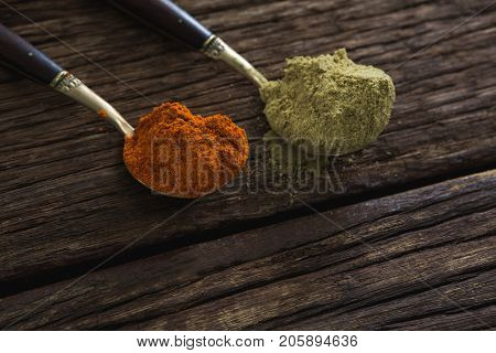 Close-up of red chili powder and coriander powder on a wooden table