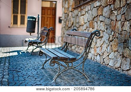Closeup Of Bench In A Alley