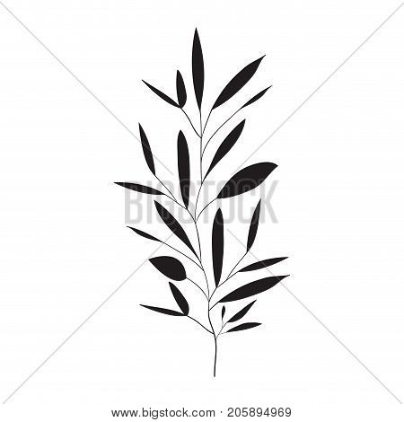 ramification with several leaves on monochrome silhouette vector illustration