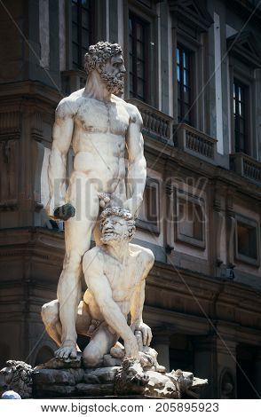 Hercules and Cacus Statue in Palazzo Vecchio in Florence Italy.
