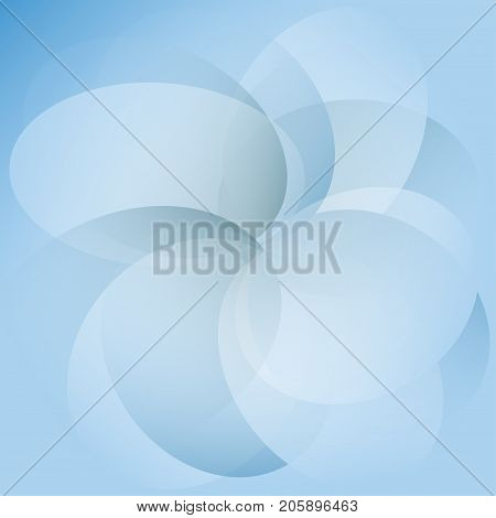 Abstract blue transparent circles overlap on white background with soft light Vector illustration