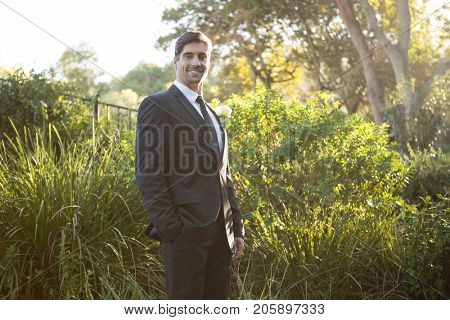 Portrait of confident bridegroom standing by plants in park