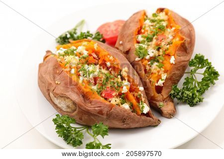 baked sweet potato with cheese and herbs