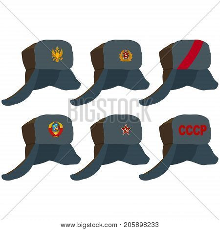 Russian hat with earflaps Soviet and Russian symbols. The illustration on a white background.