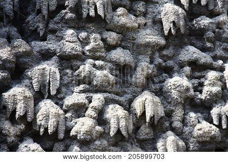 artificial creation of stalactite wall Wallenstein Garden Prague