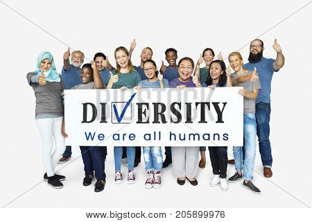 Group of diversity people with diversity board support