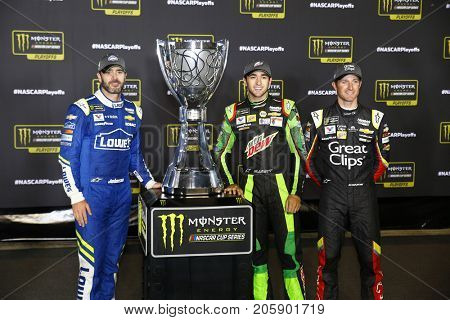 September 09, 2017 - Richmond, Virginia, USA: Jimmie Johnson (48), Chase Elliott (24), & Kasey Kahne (5) take photos after being locked in for the 2017 NASCAR Playoffs following in Richmond, Virginia.
