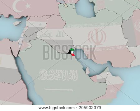 Kuwait On Political Globe With Flag