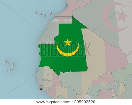 Mauritania On Political Globe With Flag