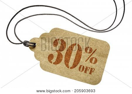 thirty percent off discount  - a paper price tag with twine isolated on white