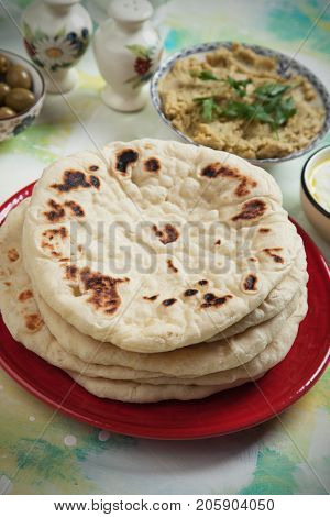 Pita, flatbread popular in turkish, lebanese and other oriental cuisines