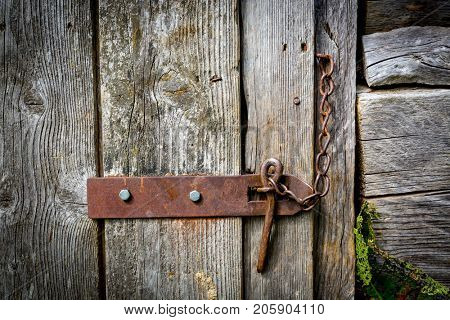 latch on old wooden door