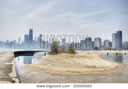 HDR of Chicago with Beach