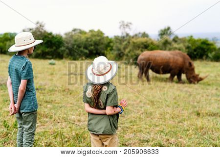 Back view of kids on safari walking close to  white rhino