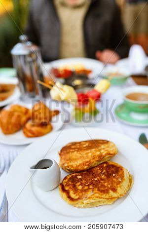 Delicious pancakes served for breakfast