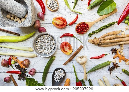 Thai food ingredients vegetable and spicy taste Thai food and healthy concept