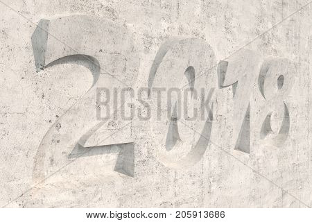 2018 Number Bas-relief On Concrete Surface