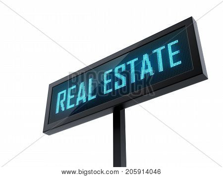 Real Estate Led signage isolated on white background - 3D Rendering