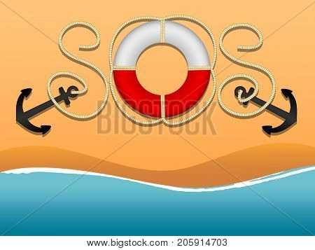 international distress signal and asking for help. SOS in form of inscriptions of the ropes and a life buoy. Anchor lifebuoy rigging the sea. Beach and wave. Flat cartoon style. Vector illustration