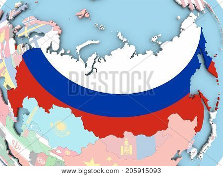 Russia with embedded flag on map. 3D illustration.