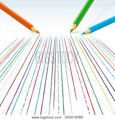 Colour pencils drawing straight lines