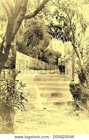 Area of old restored Jaffa in Israel. Ancient stone stairs in Arabic style in Old Jaffa Tel Aviv. Vintage style toned picture