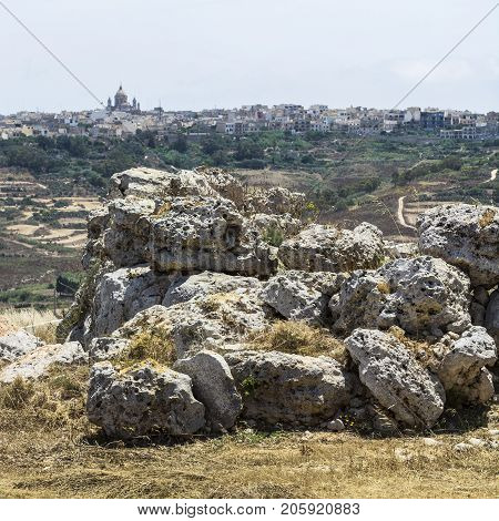 The Megalithic Temples of Malta are the oldest free-standing structures on Earth on the background of city of Victoria