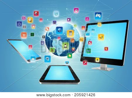Application sharing Concept as downloadable content on internet