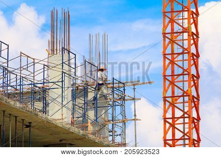 construction workers site and building of housing at laborer work outdoor with copy space add text ( High definition image)