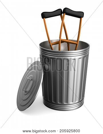 crutches in garbage basket on white background. Isolated 3D illustration