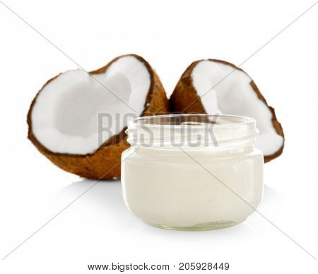 Coconut oil in mason jar on white background