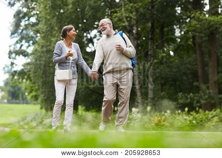Joyful spouses taking walk in the country on summer weekend