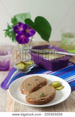 Homemade Liver Pate With Bread And Canned Cucumber. Rustic Style, Selective Focus.