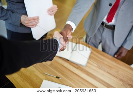 Business partners congratulating one another with new bargain by handshake