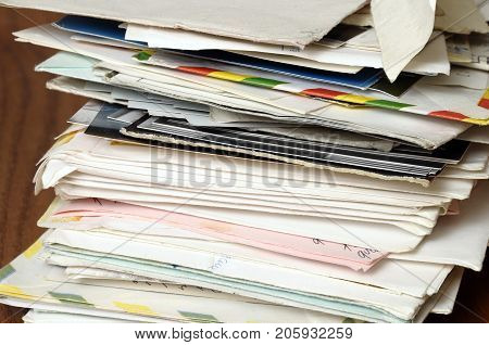 Pile of old letters stack of vintage mails and envelopes