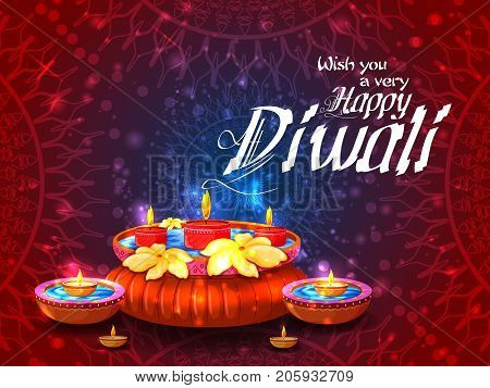 Firecracker on Happy Diwali night celebrating holiday of India. Vector illustration