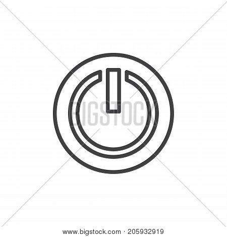 Power off or power on button line icon, outline vector sign, linear style pictogram isolated on white. Symbol, logo illustration. Editable stroke