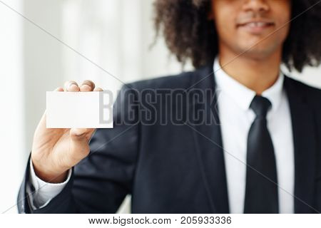 Entrepreneur or employer showing card with his name