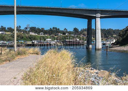 Noyo Harbor along Noyo River, Fort Bragg, California